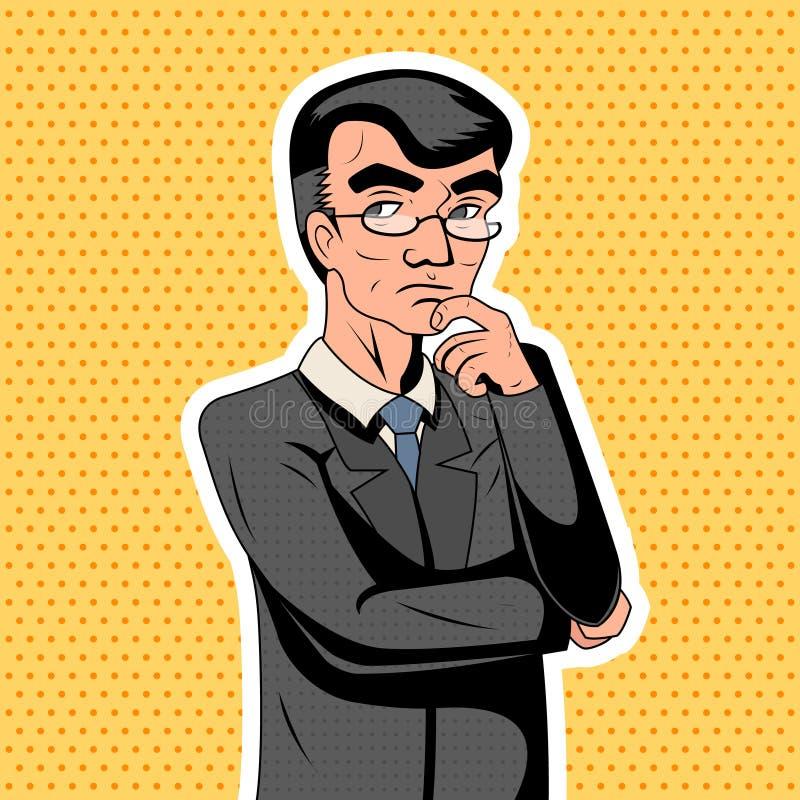 Pop Slimme Volwassene van Art Decision Making Thoughtful Genius vector illustratie