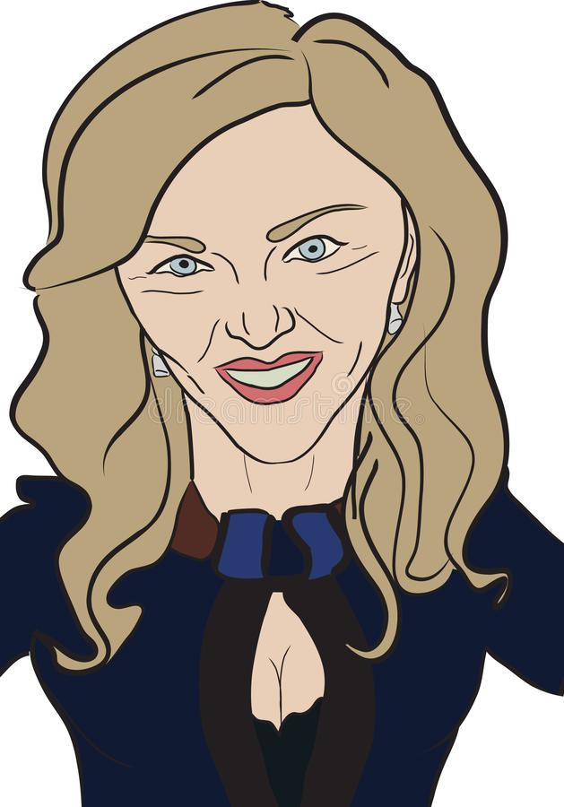Pop Star Madonna Caricature. Cartoon Portrait/caricature of English Pop Star /Singer Madonna. Based on reference photos stock illustration