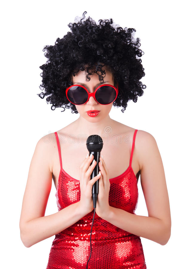 Download Pop star with mic stock image. Image of karaoke, attractive - 30219993