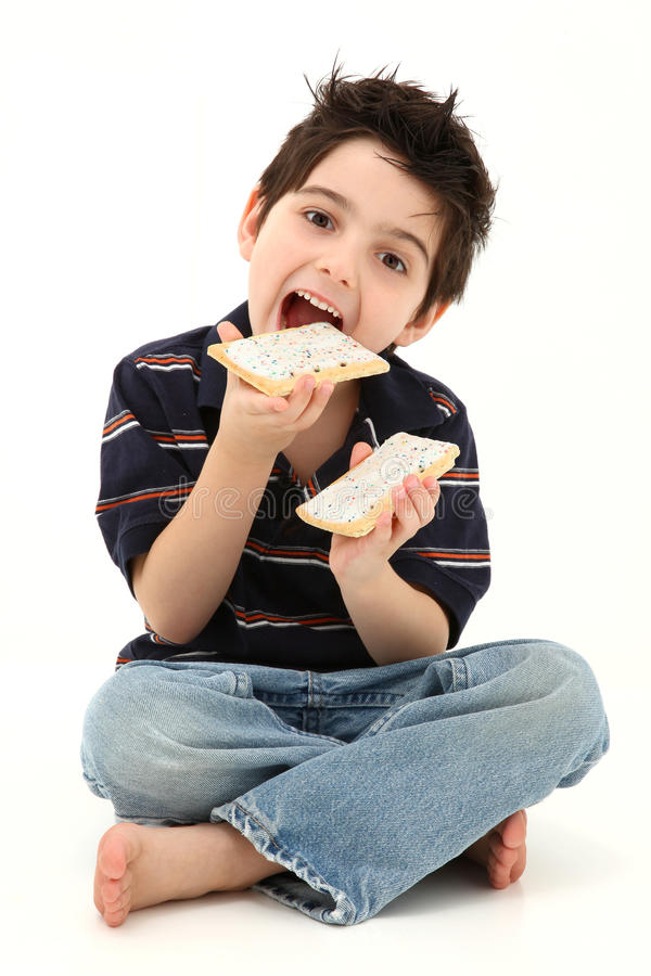 Pop Tart Boy Laughing and Eating royalty free stock images