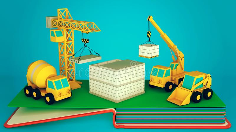 Pop up book with layout of construction site and equipment. 3D rendering royalty free illustration