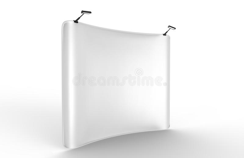 Pop Up Concave Tension Fabric Display with Blank White Skin Backdrop Wall. 3d render illustration. vector illustration