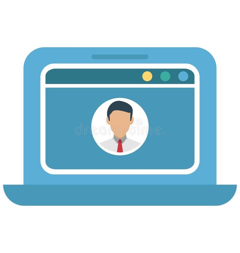 Pop-up di profilo, icona di vettore isolata profilo di web illustrazione vettoriale