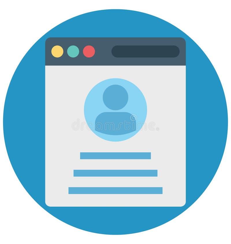 Pop-up di profilo, profilo di web, icone isolate di vettore che possono essere modificate o pubblicare facilmente illustrazione di stock