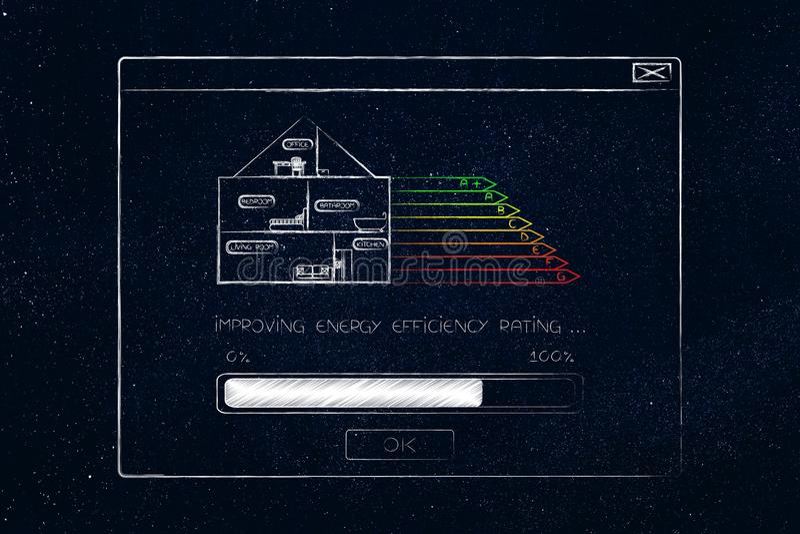Pop-up met energierendementclassificatie het verbeteren en huispictogram vector illustratie