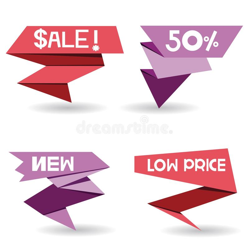 Pop up sale stickers. Collection of 4 pop up sale stickers on white background vector illustration