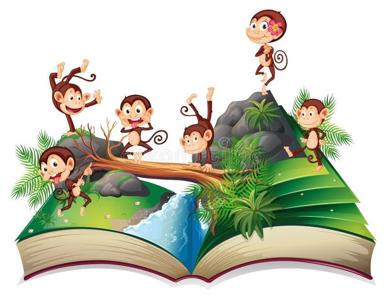 Pop-uppbok med apor royaltyfri illustrationer