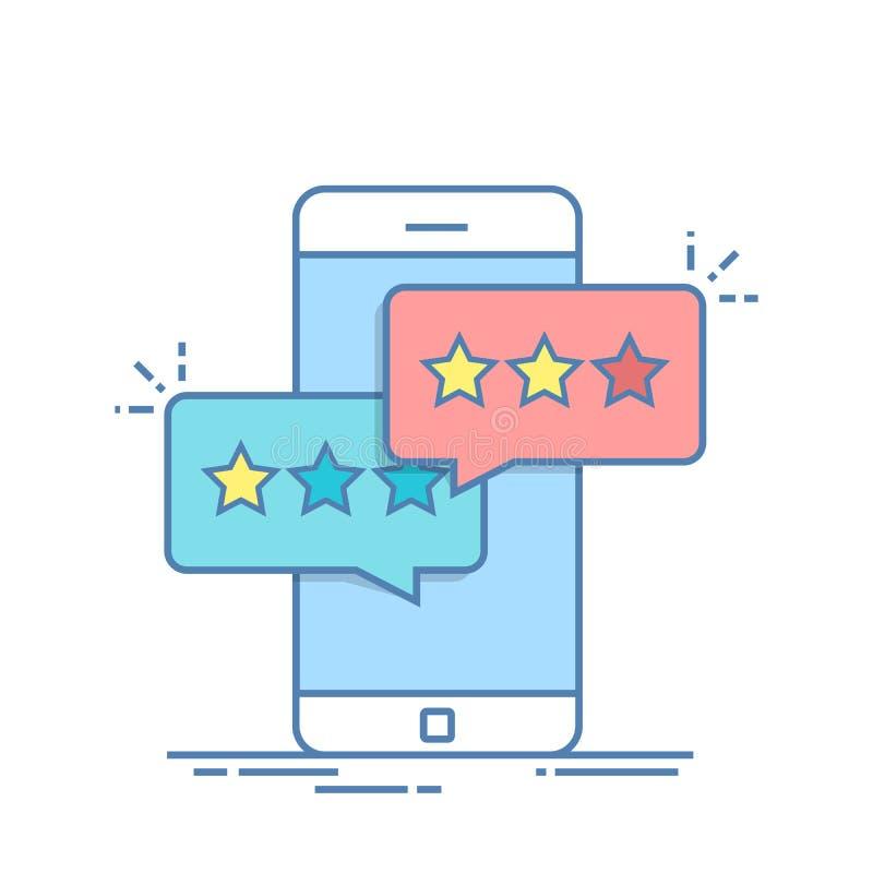 Pop-uppdialogask på mobiltelefonen med ett förslag att sätta en bedömning Beskåda rangen i form av stjärnor royaltyfri illustrationer