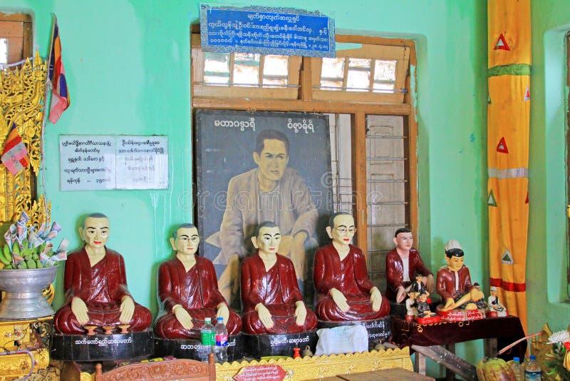 Popa Taungkalat寺庙菩萨图象,登上Popa,缅甸 图库摄影