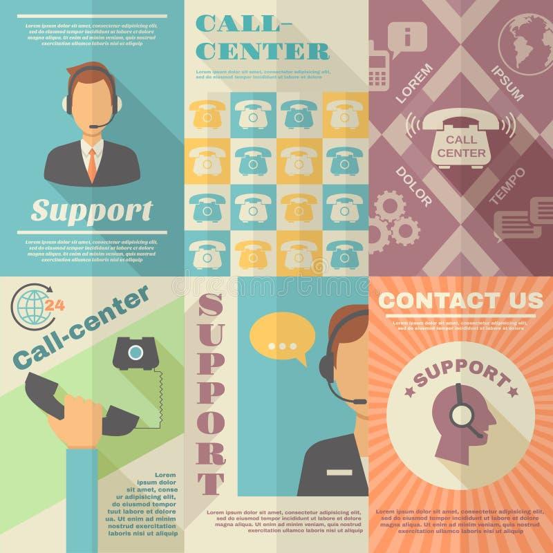 Poparcia centrum telefonicznego plakat ilustracji