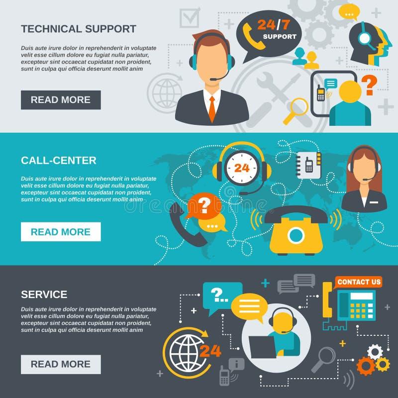 Poparcia centrum telefonicznego sztandar ilustracji