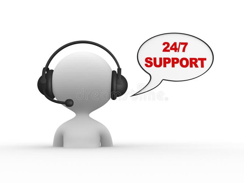 Poparcie 24/7 royalty ilustracja