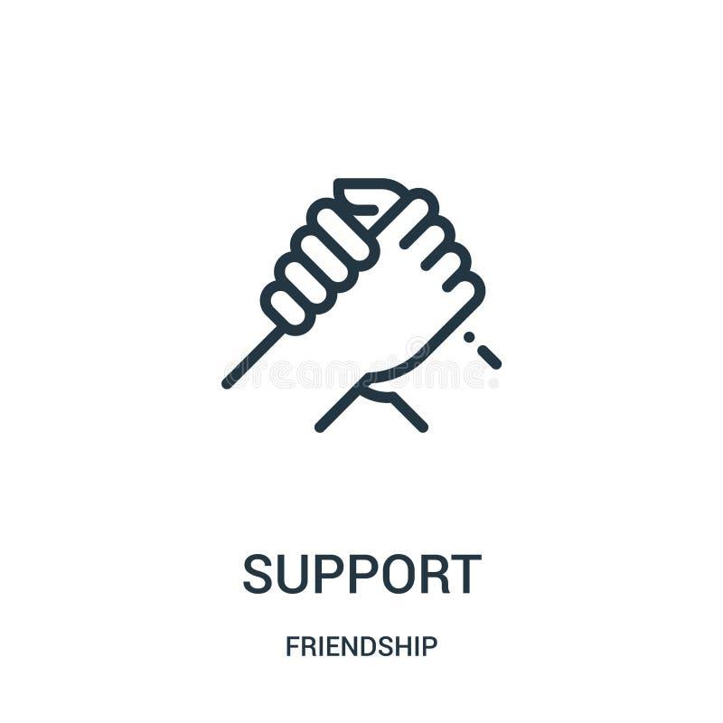 poparcie ikony wektor od przyjaźni kolekcji Cienka kreskowa poparcie konturu ikony wektoru ilustracja Liniowy symbol dla używa na royalty ilustracja