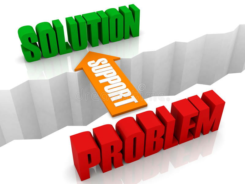 Poparcie jest mostem od problemu rozwiązanie. ilustracja wektor