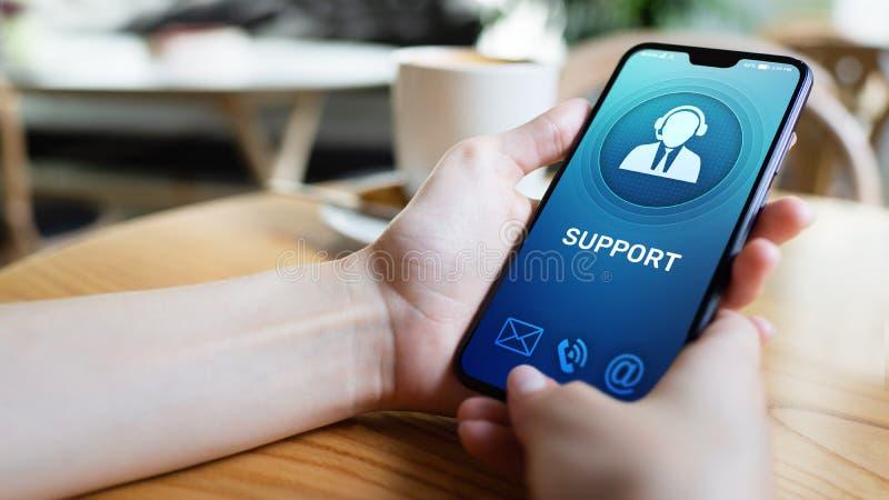Poparcie, obsługi klientej ikona na telefonu komórkowego ekranie Centrum telefoniczne, 24x7 pomoc zdjęcia royalty free