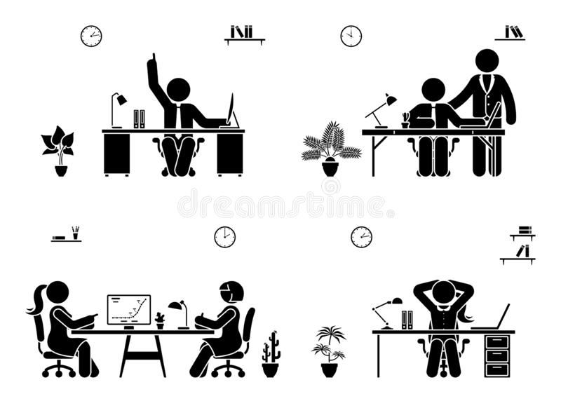 Poparcie, rozmowa, odpoczynek, doskonały pomysł przy biurowym ikona setem Kij postaci biznesowego spotkania piktogram royalty ilustracja