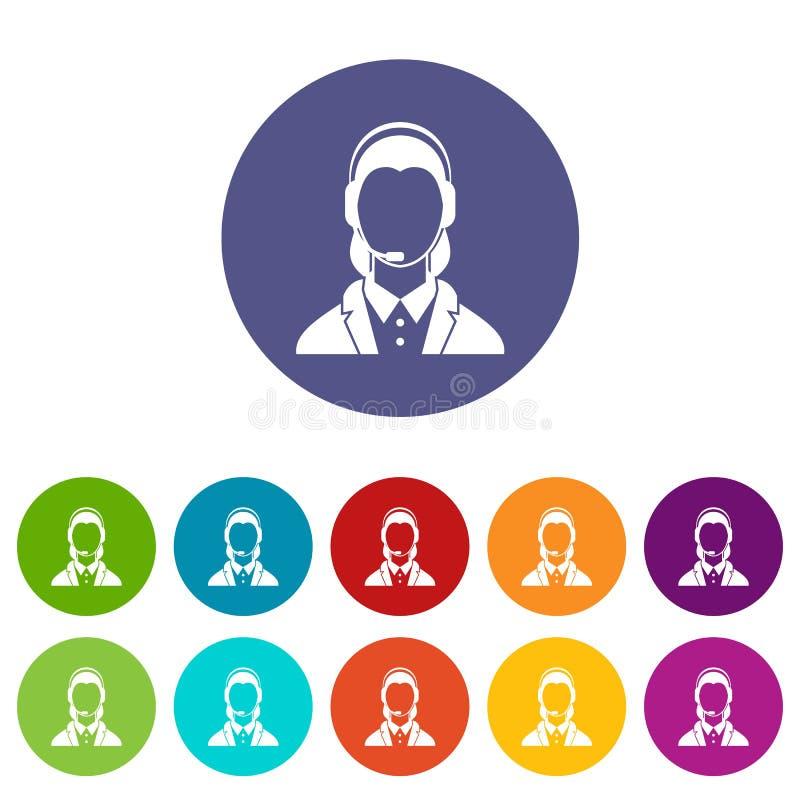 Poparcie telefonu operator w słuchawek ustalonych ikonach ilustracja wektor