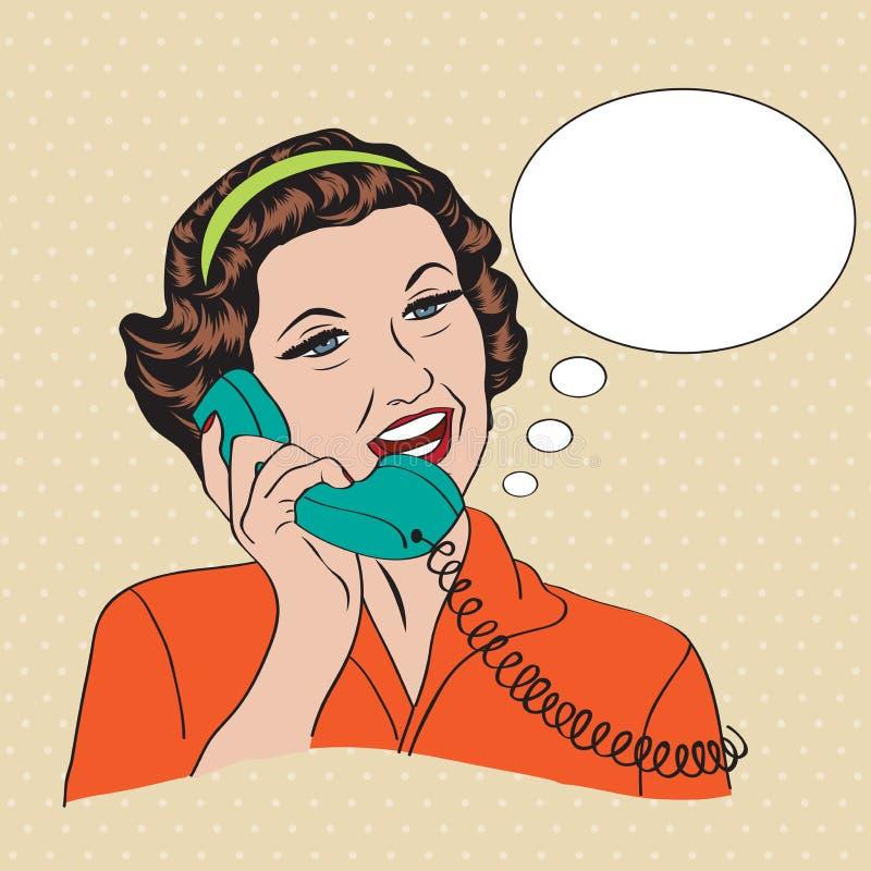 Popart可笑的减速火箭的妇女谈话由电话 向量例证