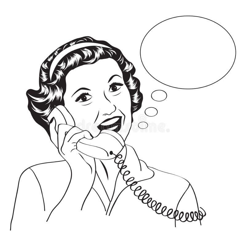 Popart可笑的减速火箭的妇女谈话由电话 皇族释放例证