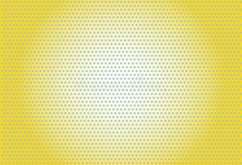 PopArt bevlekte geel gestippeld blauw als achtergrond stock illustratie