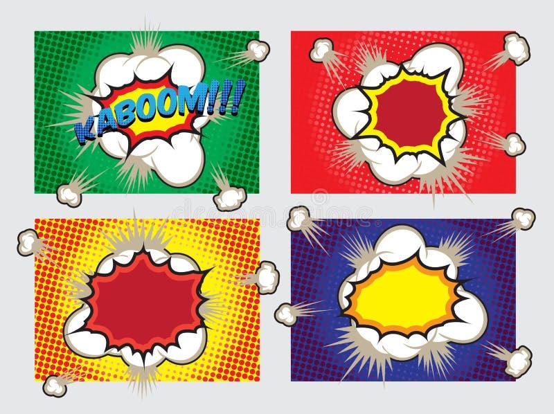 PopArt Big Explosion Effects Design beståndsdelar vektor illustrationer