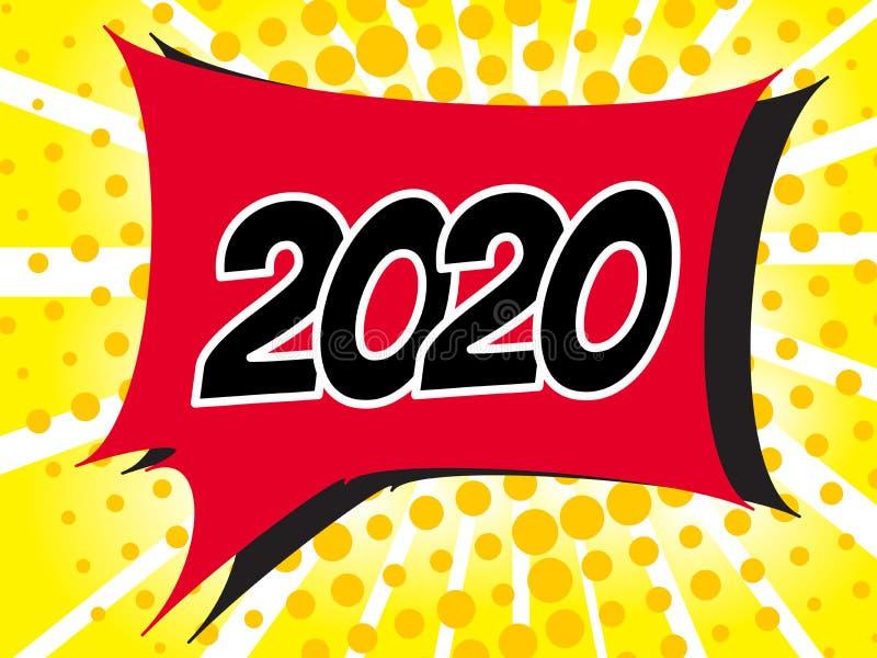 Popart-Blasen-Sprache-Karikatur-Hintergrund 2020 mit komischem Effekt vektor abbildung