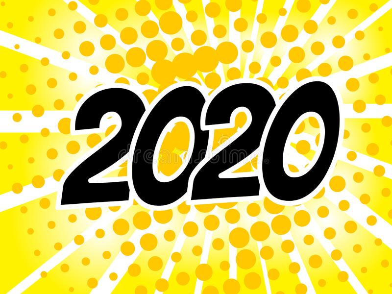 Popart-Blasen-Sprache-Karikatur-Hintergrund 2020 mit komischem Effekt stock abbildung