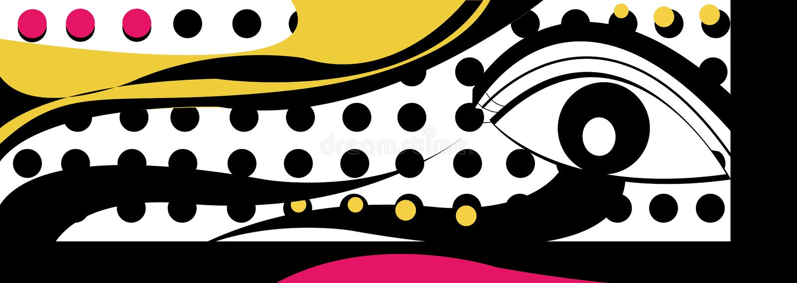 PopArt eye curve line dots halftone warhol style. PopArt eye with curve line dots halftone andy warhol style watching you royalty free illustration