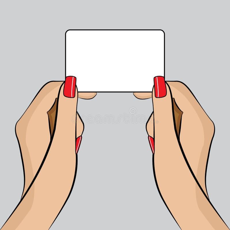PopArt illustration av en räcka med ett affärskort vektor illustrationer