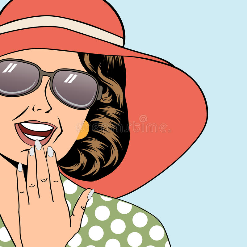 Free Popart Retro Woman With Sun Hat In Comics Style, Summer Illustration Royalty Free Stock Images - 39457749