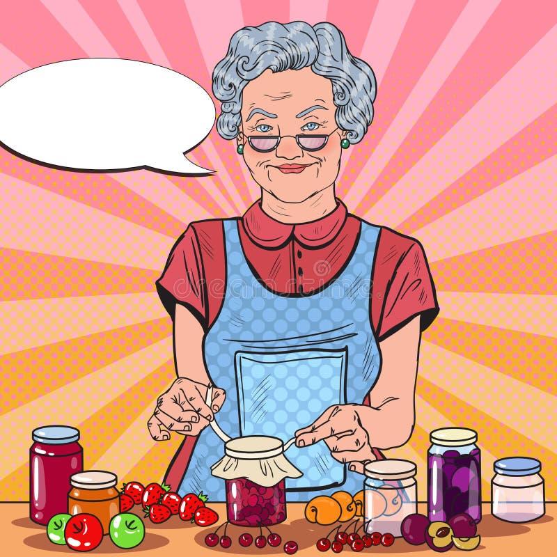 PopArt Smiling Senior Woman Making hemlagat driftstopp äta som är sunt vektor illustrationer
