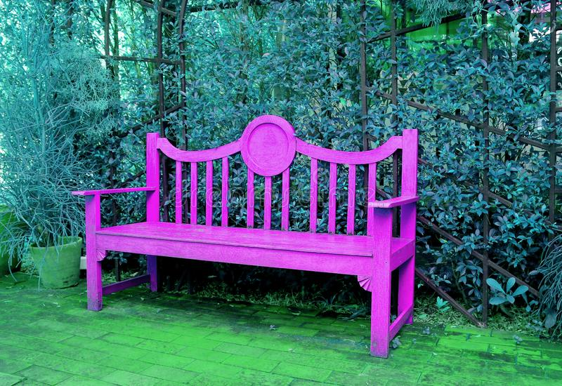 PopArt Style Vivid Pink Wooden bänk i turkosblå kulör trädgård arkivfoto