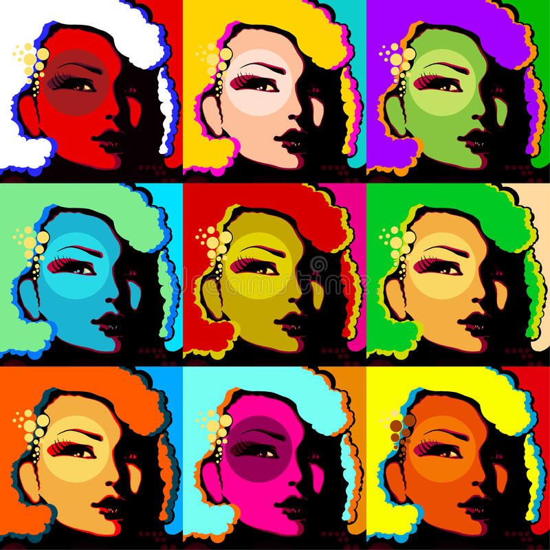 Popart woman face. Popart face of woman created by computer graphic royalty free illustration