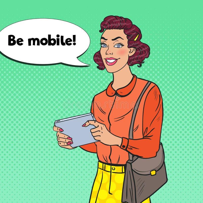 PopArt Young Woman Using Digital minnestavla Flicka med den mobila grejen royaltyfri illustrationer