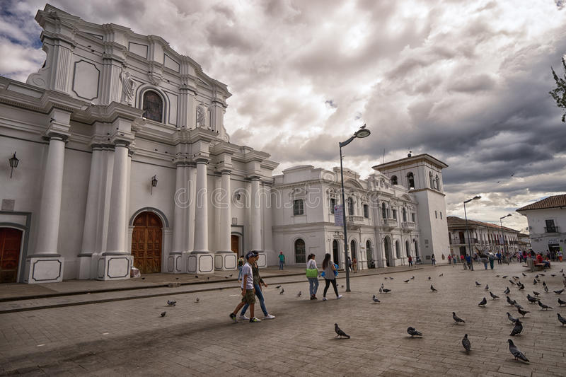 Popayan Colombia center plaza. With strolling people and doves stock images