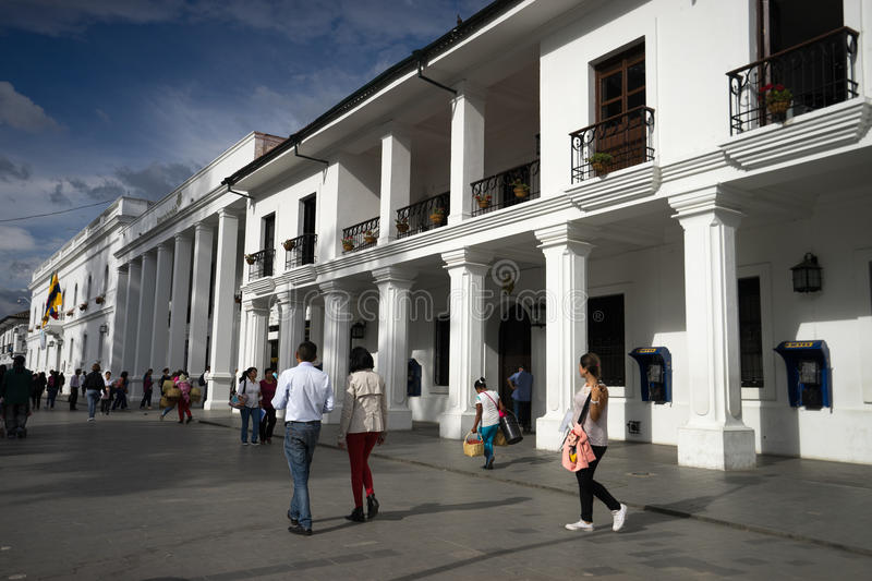 Popayan downtown. September 1, 2016 Popayan, Colombia: people walk in the afternoon sun in the colonial downtown royalty free stock photography