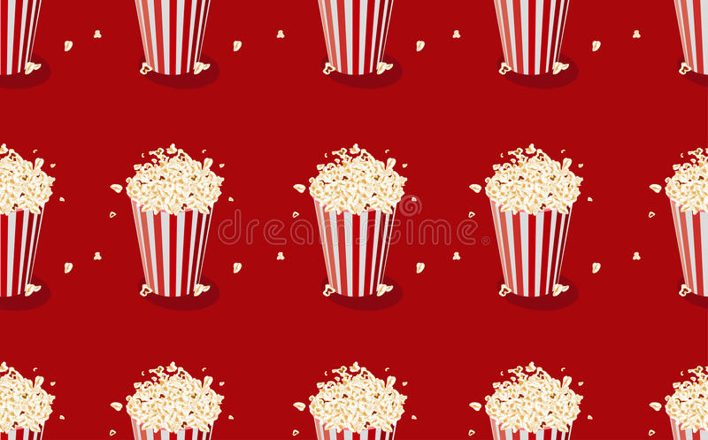 Popcorn Άνευ ραφής σχέδιο με popcorn το πακέτο απεικόνιση αποθεμάτων