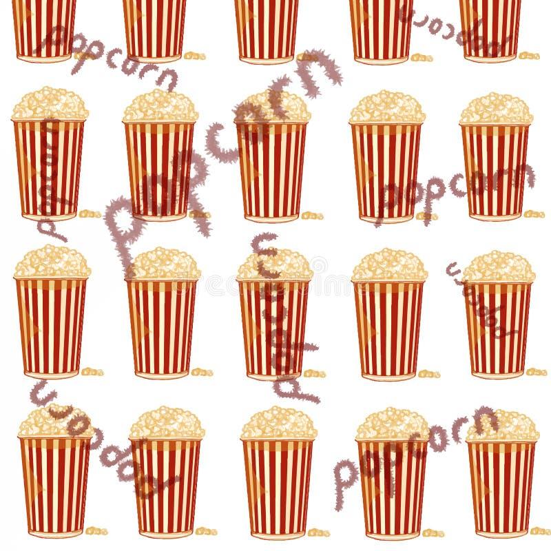 Popcorn άσπρα υπόβαθρο και κείμενο ελεύθερη απεικόνιση δικαιώματος