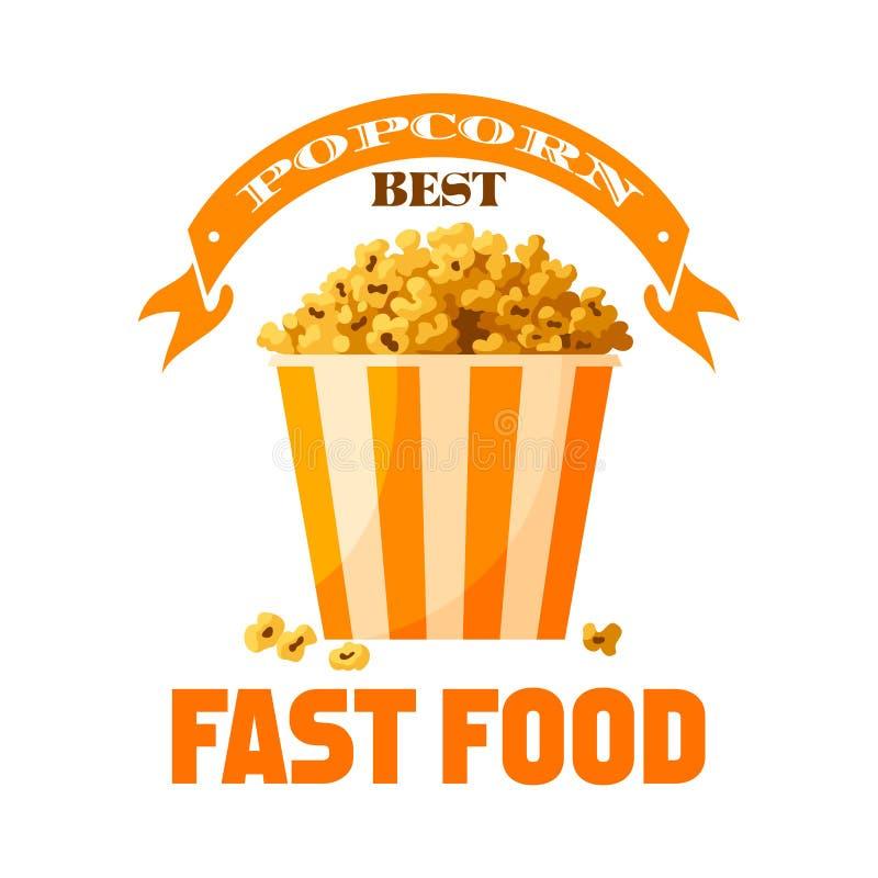 Popcorn απομονωμένο διάνυσμα εικονίδιο πρόχειρων φαγητών γρήγορου φαγητού διανυσματική απεικόνιση