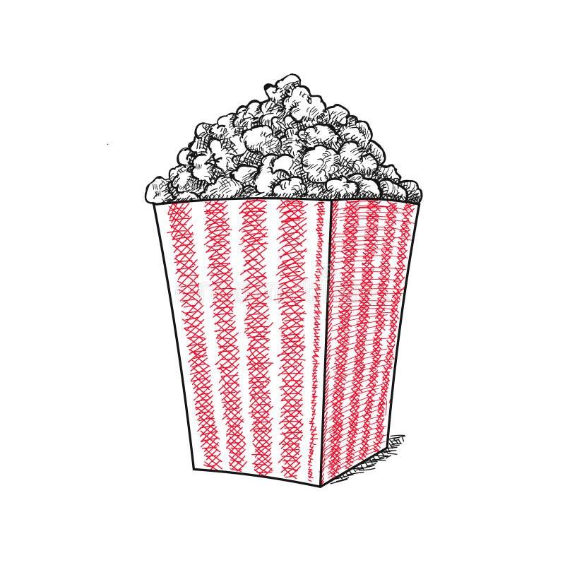 Popcorn διανυσματική συρμένη χέρι διανυσματική απεικόνιση σκίτσων, popcorn κάδος λωρίδων ελεύθερη απεικόνιση δικαιώματος