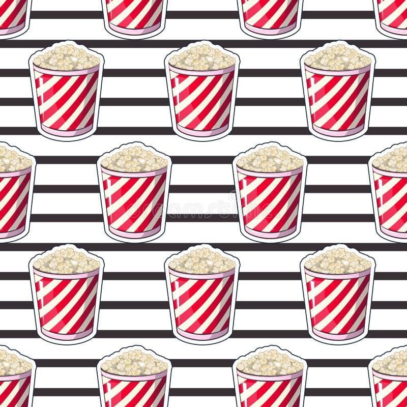 Popcorn είναι απομονωμένο σε ένα κιβώτιο περιτυλιγμάτων λουρίδων για τα προϊόντα σας απεικόνιση αποθεμάτων