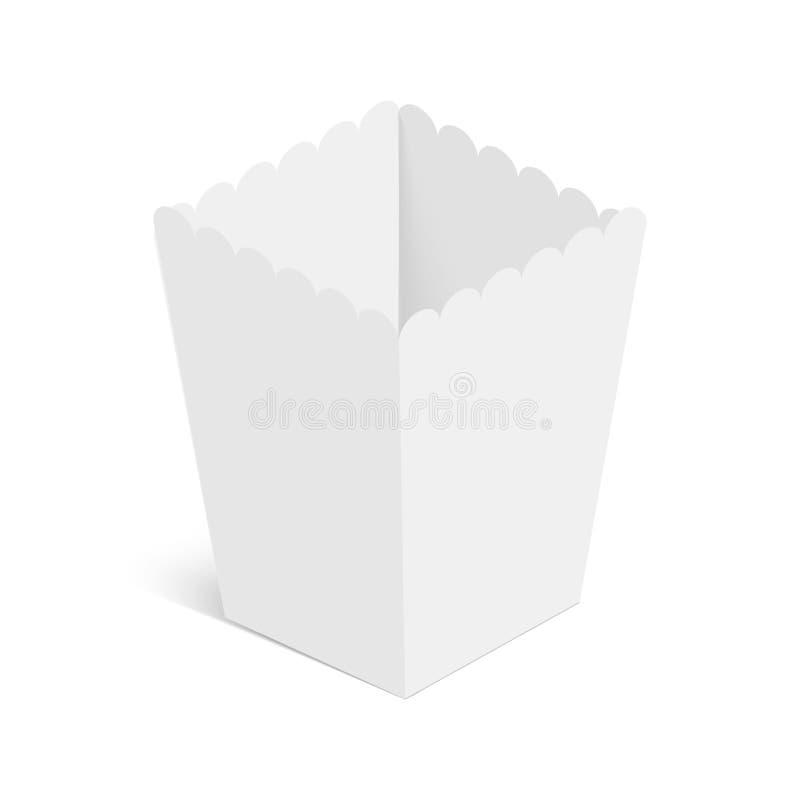 Popcorn εγγράφου πρότυπο κιβωτίων που απομονώνεται στο άσπρο υπόβαθρο διάνυσμα διανυσματική απεικόνιση