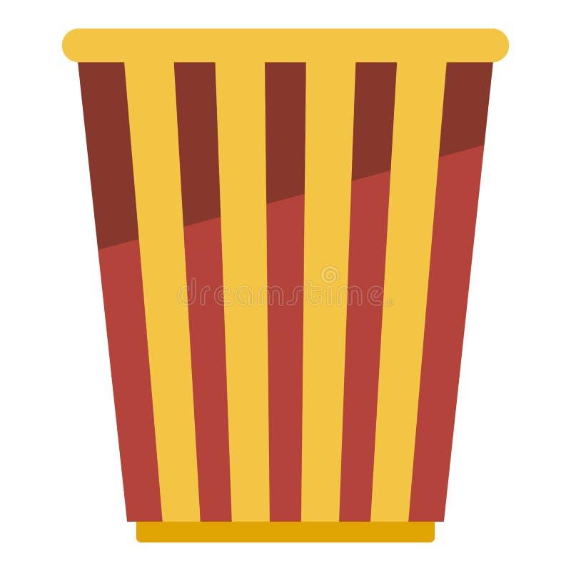 Popcorn εικονίδιο καλαθιών, επίπεδο ύφος ελεύθερη απεικόνιση δικαιώματος