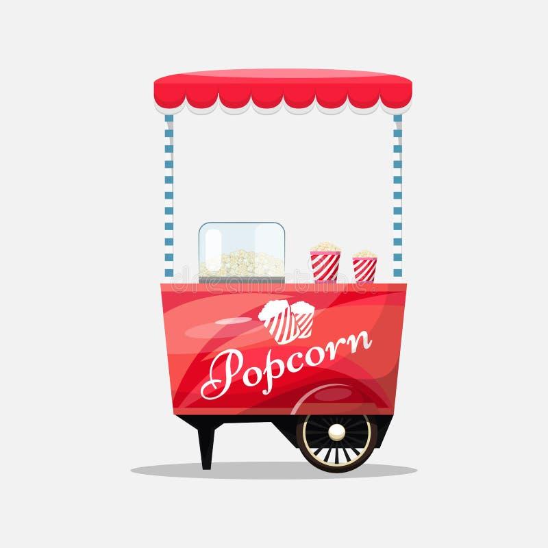 Popcorn κάρρο, περίπτερο στις ρόδες, τους λιανοπωλητές, τα γλυκά και τα προϊόντα βιομηχανιών ζαχαρωδών προϊόντων διανυσματική απεικόνιση