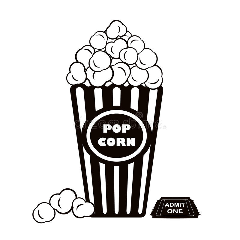 Popcorn και αναγνωρίζει ένα εισιτήριο κινηματογράφων διανυσματική απεικόνιση