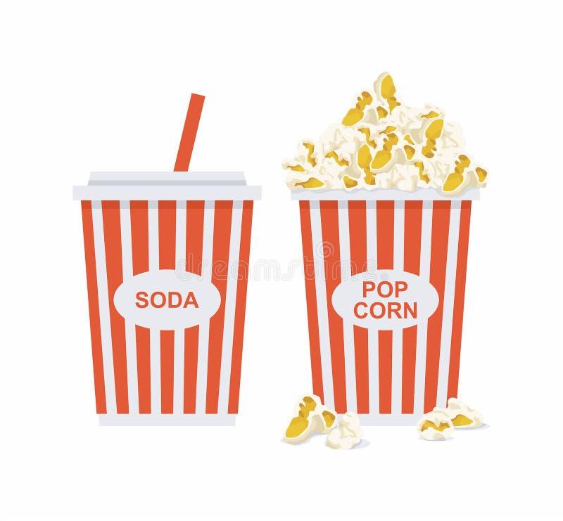 Popcorn και σόδα ελεύθερη απεικόνιση δικαιώματος