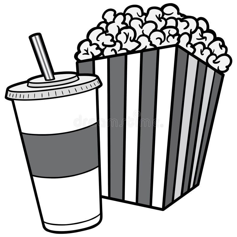 Popcorn και σόδας απεικόνιση ελεύθερη απεικόνιση δικαιώματος