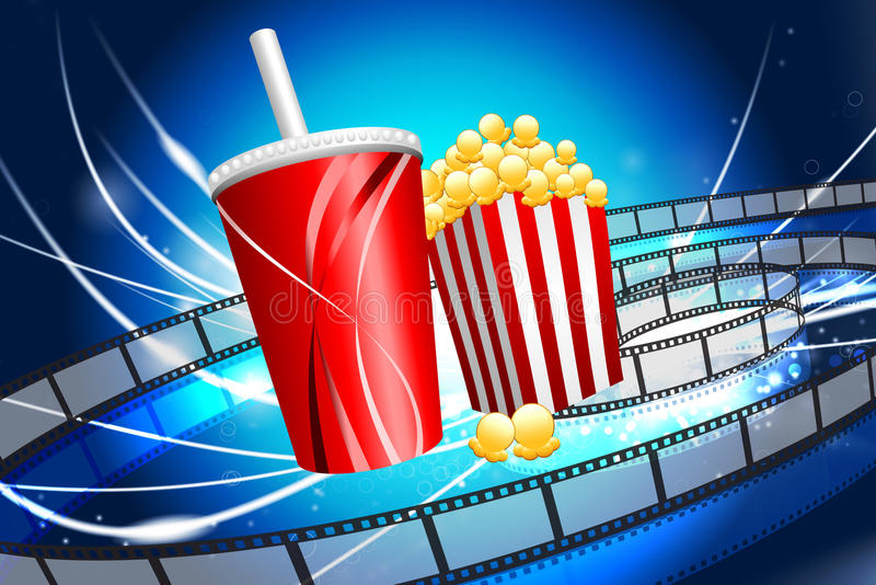 Popcorn και σόδα στο αφηρημένο σύγχρονο ελαφρύ υπόβαθρο διανυσματική απεικόνιση