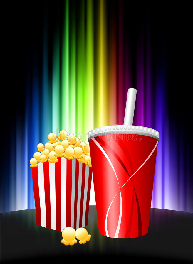 Popcorn και σόδα στο αφηρημένο υπόβαθρο φάσματος ελεύθερη απεικόνιση δικαιώματος