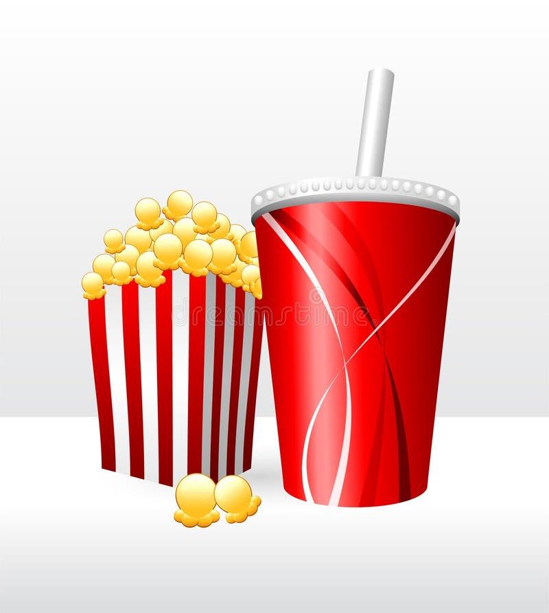 Popcorn και σόδα διανυσματική απεικόνιση